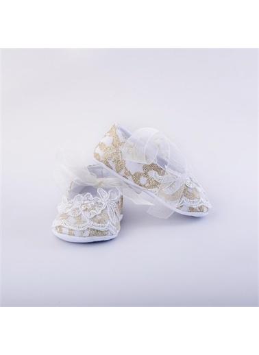 First Step Dantel Kurdele Babet Beyaz-G-2077 Altın